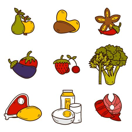 tomato cartoon: Set of objects in hand drawn style on paleo diet theme: meat, fish, fruits, vegetables, spices, nuts. Healthy food concept for your design