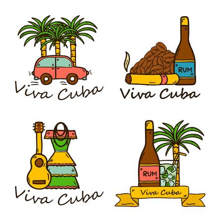 cuban cigar: Set of cute hand drawn colorful badges on Cuba theme with rum, coctail Cuba Libre, old car, sugar cane, coffee, guitar, cigar, national womans dress for your cuban design