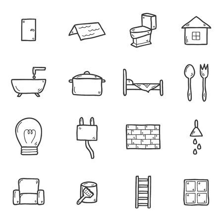 wall paint: Set of hand drawn icons on home remodeling theme: door, wall, paint, brush, light, window, ladder. House improvement concept for your design