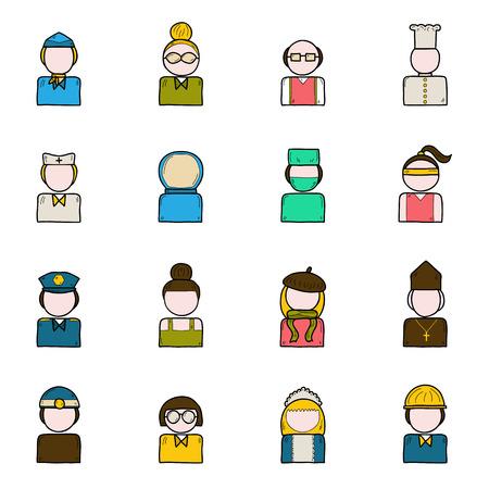 obrero caricatura: Conjunto de iconos de la gente de la profesi�n: polic�a, artista, ingeniero, enfermera, cirujano, camarero, azafata. Concepto de ocupaci�n Trabajo