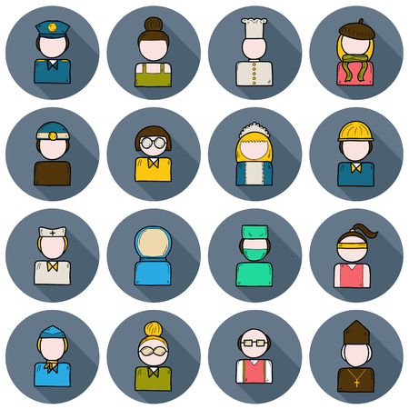 cartoon police officer: Set of people profession icons: policeman, artist, engineer, nurse, surgeon, waiter, stewardess.  Work occupation concept
