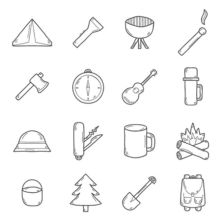 expedition: Set of camping icons in hand drawn style: tent, flashlight, match, compass. Expedition concept Illustration