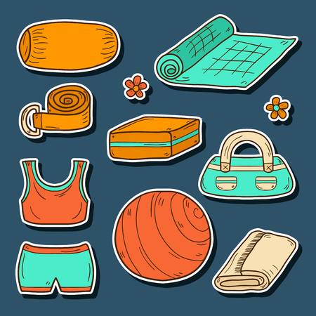 """pilates ball"": Set of yoga equipment icons in hand drawn style: ball, uniform, belt, mat, towel, roller. Healthy lifestyle concept Illustration"