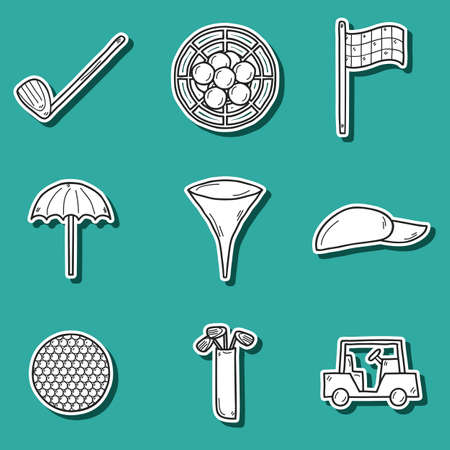 car flag: Set of hand drawn golf stickers: ball, hat, types, car, flag, umbrella.Outdoors activity concept