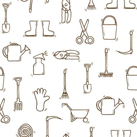 carretilla de mano: Backgound fisuras con dibujos animados dibujados a mano herramientas de jardín objetos. Concepto al aire libre: regadera, guantes, cortador, pitchfork, pala, botas, rastrillo, tijeras de podar, carretilla de mano, cubo para su diseño