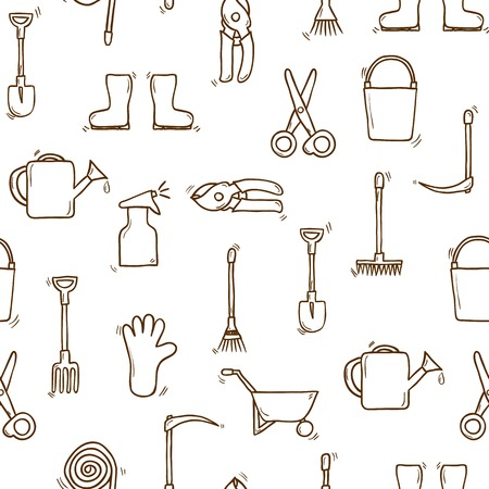 Seamless backgound with cartoon hand drawn garden tools objects. Outdoor concept: watering can, gloves, cutter, pitchfork, shovel, boots, rake, secateurs, pushcart, bucket for your design