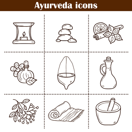 indian spices: Set of cartoon ayurvedic icons in hand drawn style: herbs, stones, oil, spices, aromatherapy, towel. Auyrveda healthcare and treatment concept for your design