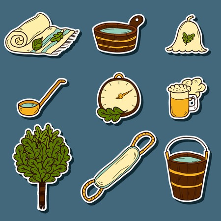 steam bath: Set of hand drawn sauna stickers: broom, towel, hat, wisp, beer, steam. Relaxation, health care or treatment concept for your design