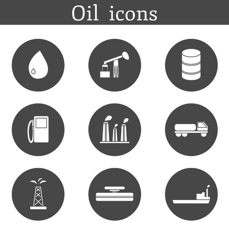 tank ship: Set of oil icons  in flat style for your design Illustration