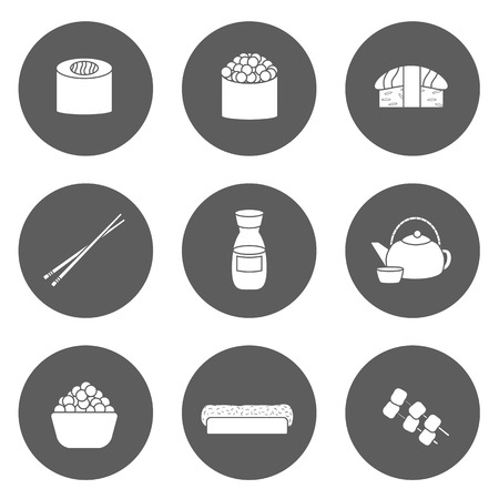 japanese people: Set of icons on japanese cuisine theme: tea pot, rolls, sushi, wasabi, caviar. Ethnic travel concept. Great for restaurant menu, food site
