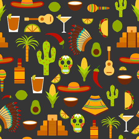 Seamless background on Mexico theme: sombrero, poncho, tequila, coctails, taco, skull, guitar, pyramid, avocado, lemon, chilli pepper, cactus, injun hat, palm. Travel concept