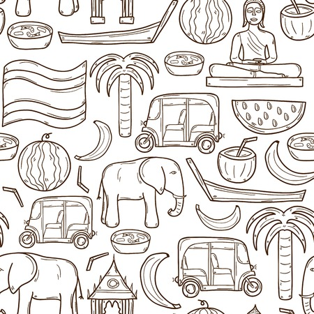thailand food: Seamless background with cartoon outline objects in hand drawn style on Thailand theme: taxi, buddha, flag, fruits, elephant, palm. Vector asia travel concept  for your design Illustration