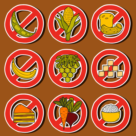 Set of stickers with products prohibited during paleo diet in hand drawn cartoon style: corn, cake, rice, carrot, bread, bean, sugar. Healthy food concept for your design Illusztráció
