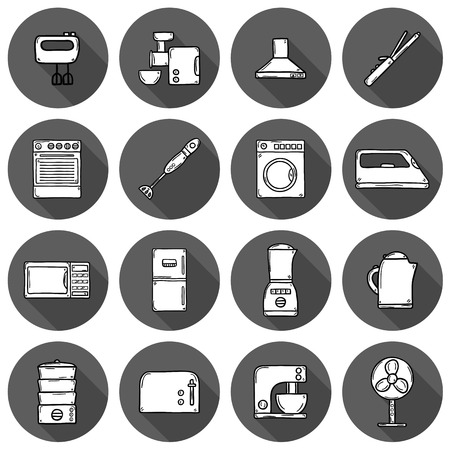 Set of objects in hand drawn cartoon style on home appliance theme: fridge, kettle, microwave, steamer, mixer, iron, stove. House care and housekeeping concept for your design