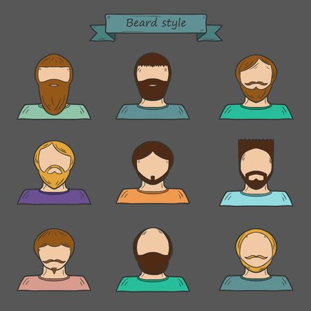 brutal: Set of hand drawn icons with cartoon men in beard style