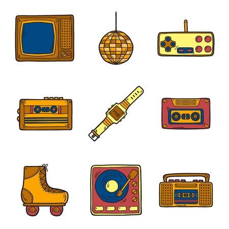 80s: Set of cartoon hand drawn icons on retro 80s theme Illustration