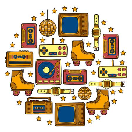 electronic music: Vector hand drawn retro background Illustration