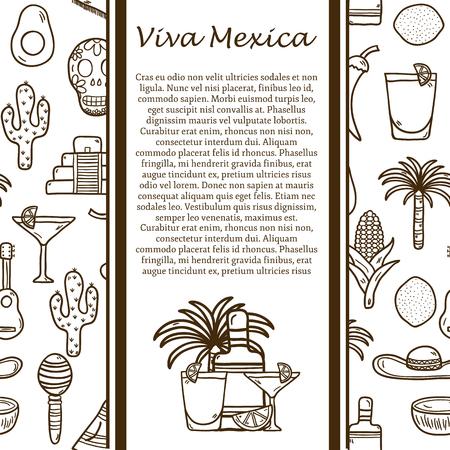 alimentos y bebidas: Concepto del recorrido del vector con los objetos dibujados a mano y de fondo sin fisuras mexicano en M�xico el tema: ron, coctail, ca�a de az�car, el caf�, la guitarra, el cigarro para su dise�o