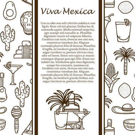 food and beverages: Vector travel concept with hand drawn objects and mexican seamless background on Mexico theme: rum, coctail, sugar cane, coffee, guitar, cigar for your design Illustration