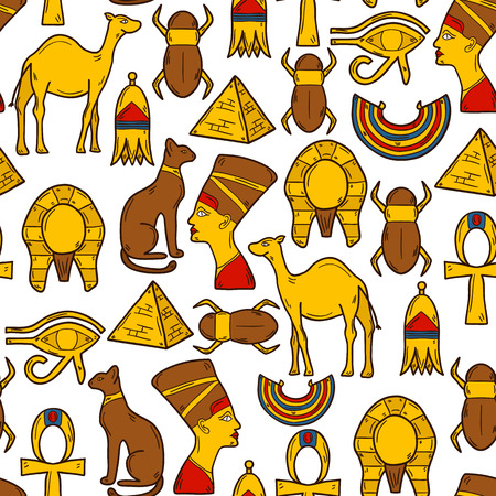 cleopatra: Seamless background with cartoon objects in hand drawn style on Egypt theme: pharaon, nefertiti, camel, pyramid, scarab, cat, eye. Africa travel concept for your design Illustration