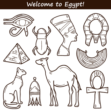 the obelisk: Set of cartoon icons in hand drawn style on Egypt theme: pharaon, nefertiti, camel, pyramid, scarab, cat, eye. Africa travel concept for your design