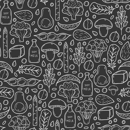 Seamless vector background with cartoon hand drawn objects on vegan source of protein theme: tofy, soya beans and milk, quinoa, lentil, chia. Healthy vegetarian food concept for your design