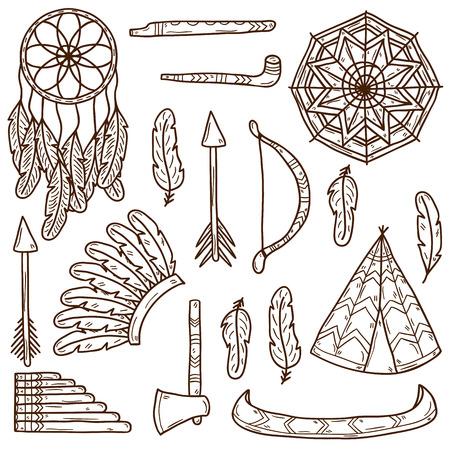 arco y flecha: Conjunto de iconos de la mano de dibujos animados dibujados sobre el tema injun: hacha de guerra, pluma, canoa, arco, flecha, sombrero, mandala, flauta, tubería, atrapasueños. Concepto de nativo americano para su diseño