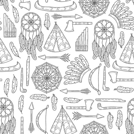 american tomahawk: Seamless background with hand drawn objects on injun theme: tomahawk, feather, canoe, bow, arrow, hat, mandala, flute, pipe, dreamcatcher. Native american concept for your design