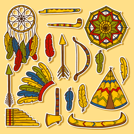 Set of cartoon hand drawn stickers on injun theme: tomahawk, feather, canoe, bow, arrow, hat, mandala, flute, pipe, dreamcatcher. Native american concept for your design