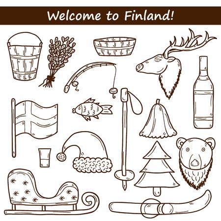 finland sauna: Set of cartoon hand drawn objects on Finland theme: sauna, deer, bear, broom, bucket, fish. Travel Europe concept for your design