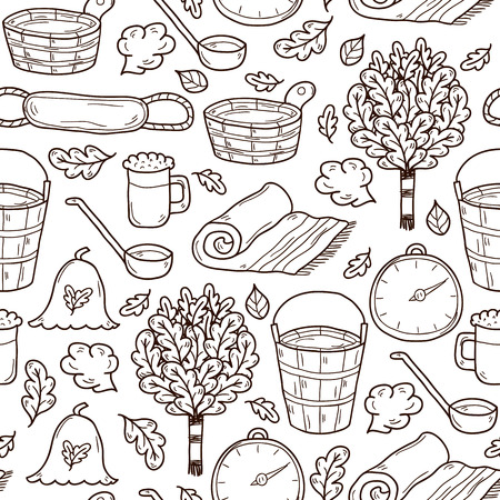 steam bath: Seamless sauna background in hand drawn style: broom, towel, hat, wisp, beer, steam. Relaxation, health care or treatment concept for your design