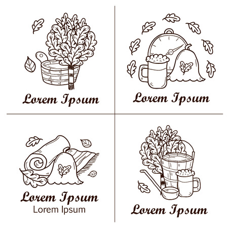 finnish bath: Relaxation, health care or treatment concept for your design with hand drawn sauna icons: broom, towel, hat, wisp, beer, steam