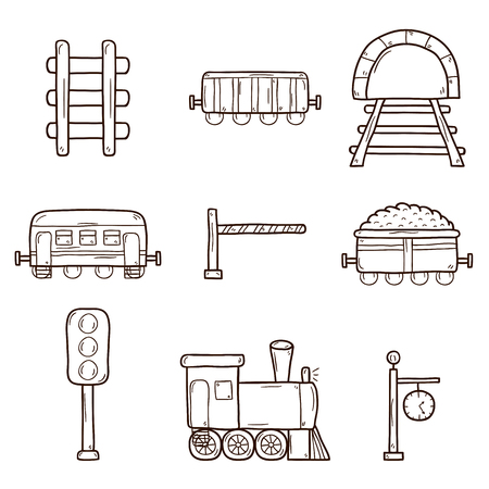 Set of hand drawn railroad icons: wagons, semaphore, railway station clock, locomotive, barrier, tunnel. Transport shipping delivery or travel concept