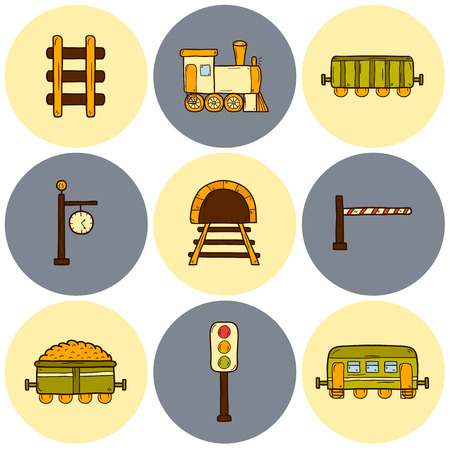 railroad crossing: Set of hand drawn railroad icons: wagons, semaphore, railway station clock, locomotive, barrier, tunnel. Transport shipping delivery or travel concept