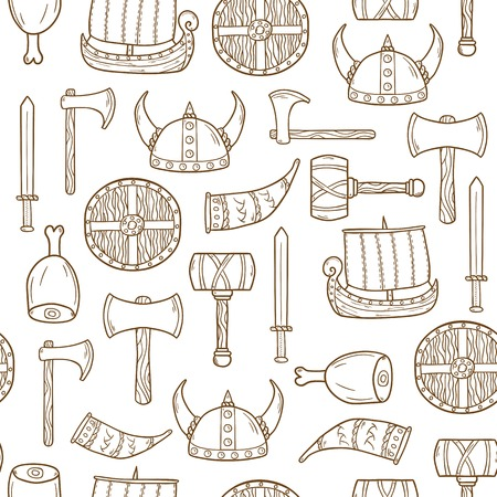 Seamless background on viking theme with cartoon hand drawn objects