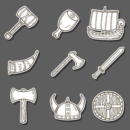 Set of cartoon hand drawn stickers on viking theme Illustration