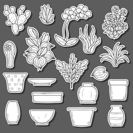 terrarium: Set of cute cartoon hand drawn houseplants stickers