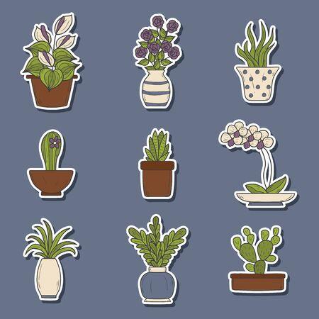 houseplants: Set of cute cartoon hand drawn houseplants stickers