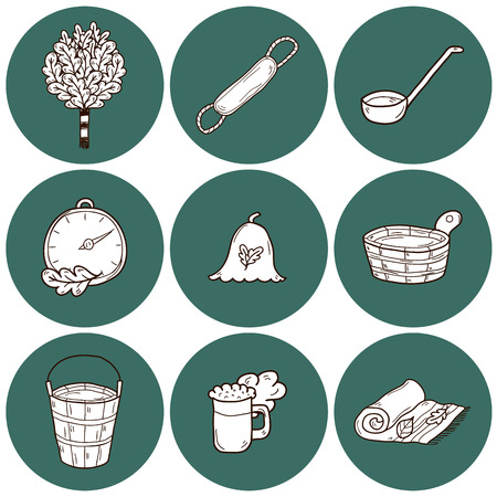 bath treatment: Set of hand drawn sauna icons: broom, towel, hat, wisp, beer, steam. Relaxation, health care or treatment concept for your design