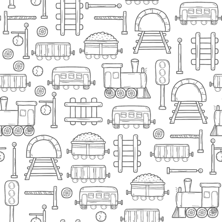 railroad crossing: Vector seamless background with hand drawn railroad objects: wagons, semaphore, railway station clock, locomotive, barrier, tunnel. Transport shipping delivery or travel concept for your design