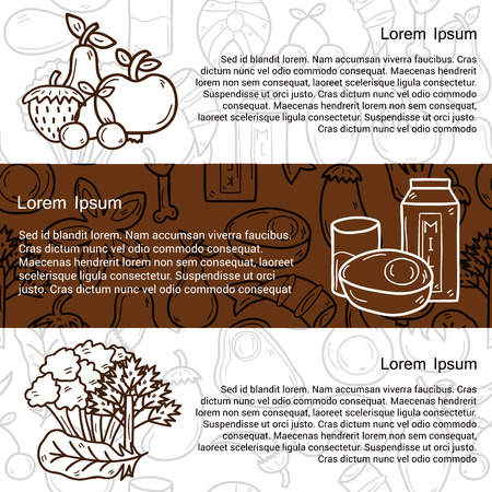 diet cartoon: Vector healthy food concept in hand drawn style on paleo diet theme: fruits, vegetables, spices, milk, eggs with outline background