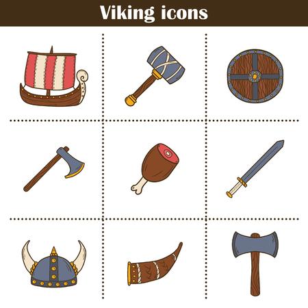 scandinavia: Set of cartoon hand drawn icons on viking theme Illustration