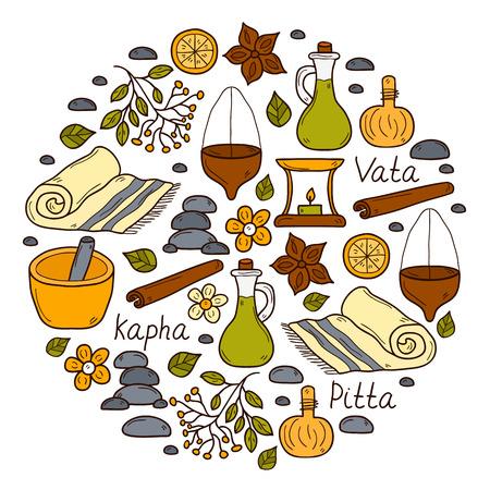 손으로 그린 스타일의 라운드 아유르베 배경 : 허브, 돌, 오일, 향료, 아로마 테라피, 수건. 디자인을위한 Auyrveda 의료 및 치료 개념