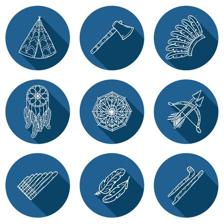 bow arrow: Conjunto de iconos de la mano de dibujos animados dibujados sobre el tema injun: hacha de guerra, pluma, canoa, arco, flecha, sombrero, mandala, flauta, tuber�a, atrapasue�os. Concepto de nativo americano para su dise�o