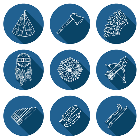 tomahawk: Set of cartoon hand drawn icons on injun theme: tomahawk, feather, canoe, bow, arrow, hat, mandala, flute, pipe, dreamcatcher. Native american concept for your design
