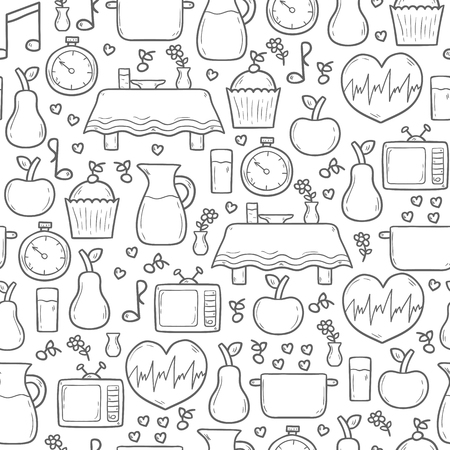 mindful: Seamless hand drawn cartoon background on mindful eating rules theme Illustration