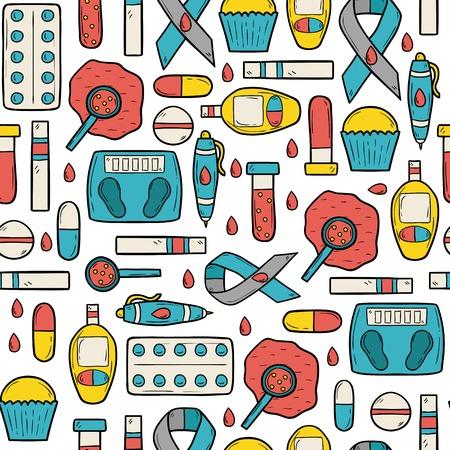 Seamless hand drawn cartoon background on diabetes theme