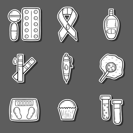 blood sugar: Set of cartoon hand drawn diabetes stickers