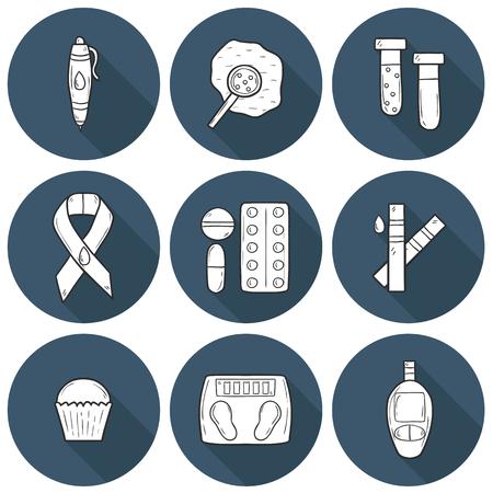 diabetes: Conjunto de iconos de dibujos animados sobre la diabetes tema de estilo dibujado a mano