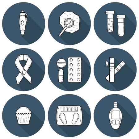 Set of cartoon icons on diabetes theme in hand drawn style
